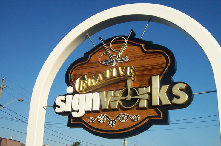 Creative Sign Works Carved and Sandblasted Street Sign